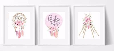 Set of 3 Nursery/home wall decor print boho tribal dreamcatcher name teepee