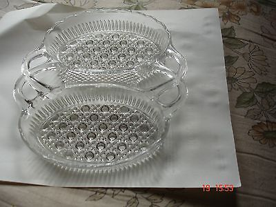 Antique Pressed Glass Double Dish with handles