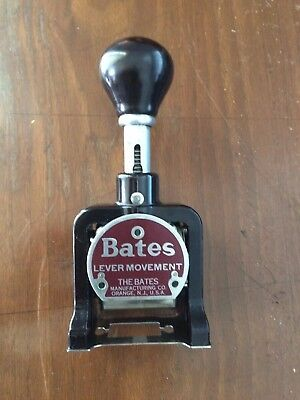 Vintage Lever Movement  Bates 6 Wheels Numbering Machine Style A