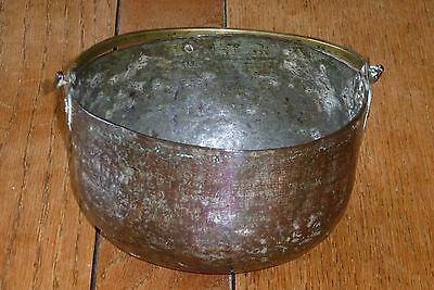 Antique Copper Bowl with Brass Handle