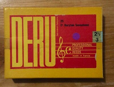 Vintage Box 25 French Baritone Sax Reeds 2.5 - 3- DERU Brand, Stockroom Find