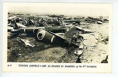 Yontan Airfield L Day WWII Photo RPPC Japanese Bombers—Vintage Okinawa 40s