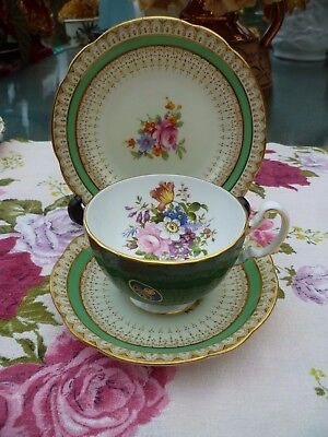Mix & Match English China Trio Aynsley Tea Cup Paragon Saucer Plate Green Floral