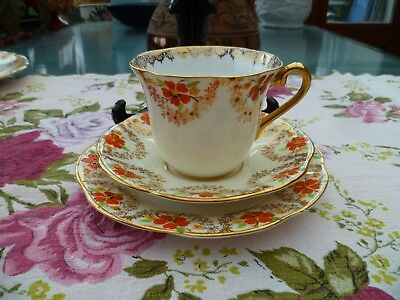 Lovely Vintage Clare China Trio Tea Cup Saucer Plate Gilded Orange  Floral 954