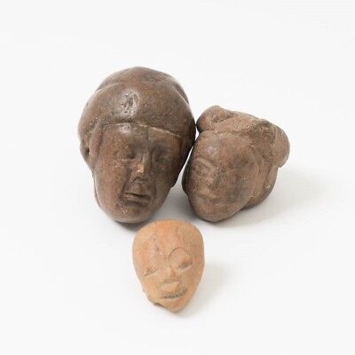Lot of 3 Pre-Columbian Stone Heads Carved Artifact Deity Statue Mayan / Aztec