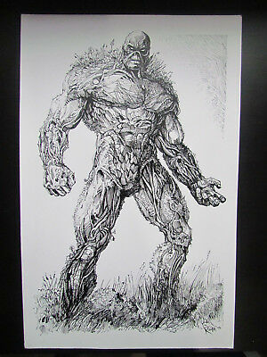 Mike Rooth Original Art / Sketch  - Huge 11X17 Full Figure Of Swamp Thing! Dc