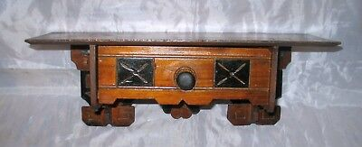 Antique Victorian Eastlake Style Wall Clock Shelf Black Accents With Drawer