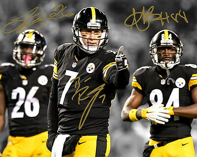 Ben Roethlisberger Antonio Brown Le'Veon Bell Signed Photo Autograph Reprint