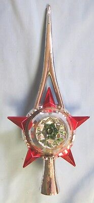 Vtg 1950s Mercury Glass Christmas Tree Topper Silver and Red with Green Center