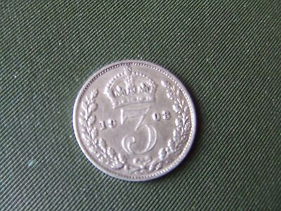 Edward Vii.  1908, Silver Threepence.    Very Nice Condition.