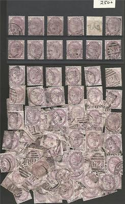 GB 1881 QUEEN VICTORIA 1d LILACS COLLECTION 250 VICTORIAN STAMPS off paper