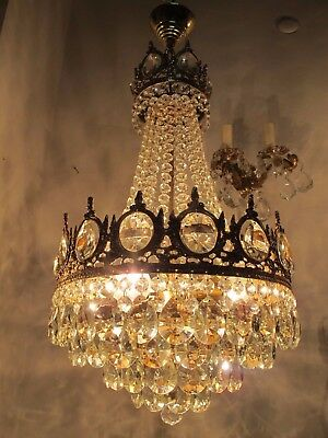 Antique Vnt French HUGE Basket Crystal Chandelier Lamp 1940's 14in dm-**-**
