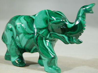A Solid MALACHITE Elephant Carving W Super Neat Pattern From The Congo 106gr e
