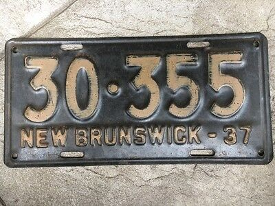 1937 New Brunswick Canada License Plate, Number 30355, All Original