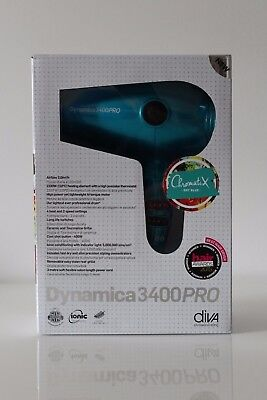 Diva Hair Dryer Dynamica 3400Pro Sky Blue Chromatix Edition New (Rrp £59.99)
