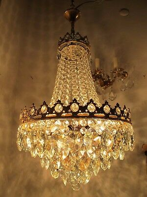 Antique Vnt French Big Basket Crystal Chandelier Lamp 1940's 16in Ø diamter----