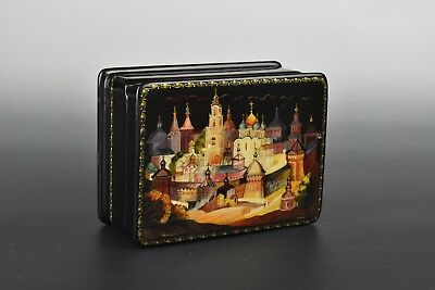 Vintage Signed Russian Hand Painted Lacquer Box Mother of Pearl Inlay