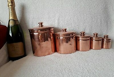 A Beautiful Set Of 5 French Vintage Graduating Copper Lidded Containers