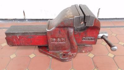 """Large Heavy Duty Industrial Dawn 6SP  Bench Vice 6"""" Jaws Red Great Condition"""
