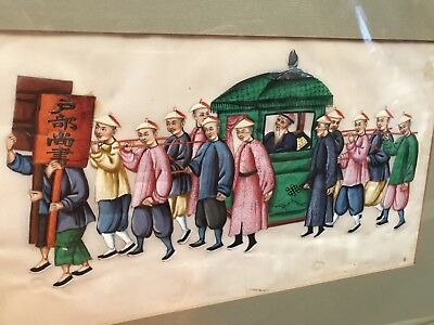Antique Qing Chinese Pith Painting Gouache Palanquin Procession Large