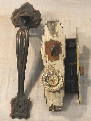 Antique Penn Mortise Art Deco Mission Thumb Latch Door Plate Glass Knob Set