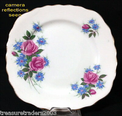 ♡ Royal Vale Square Side Plate Bright Blue Purple Flowers Bone China England