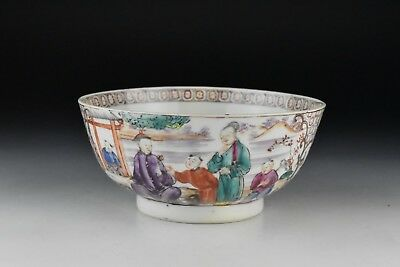 Antique Chinese Export Porcelain Bowl w/ Painted Mandarin Characters