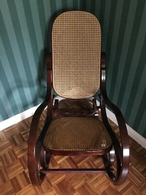 A LARGE MODERN STYLE Wooden ROCKING CHAIR WITH RATAN SEAT & BACK