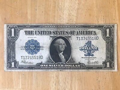 Nice 1923 Large Note $1 One Dollar Blue Seal Silver Certificate Horse Blanket