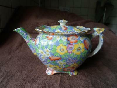 Royal Winton Hand Painted Gilded Athena Anemone Chintz Teapot c.1930's
