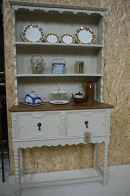Antique Painted Edwardian Solid Oak Dresser Sideboard Display Storage
