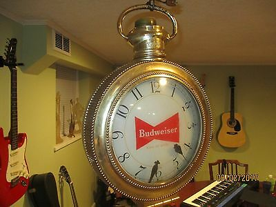 Budweiser 1959/60 Double Sided, Rotating Clock Pocket Watch Floating Arms.WORKS!