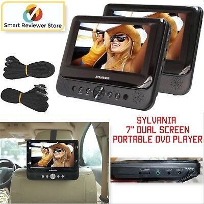 "Car 7"" Dual Screen DVD Player Portable USB LCD Monitors Black Built-in speakers"