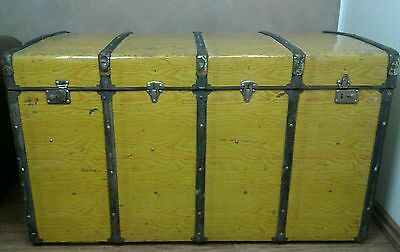 Vintage Retro Metal & Wood Shipping Chest Travel Trunk Case Blanket Box