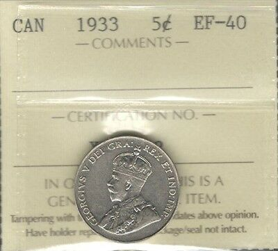 1933 Five Cents ICCS Graded EF-40 HIGH Grade SCARCE Date George V Canada Nickel