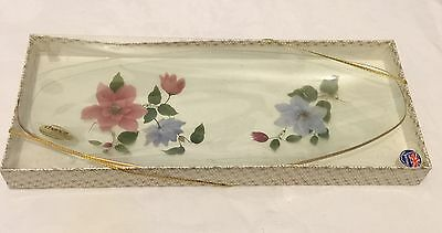 Vintage Chance Glass Clematis Cake Plate New Boxed