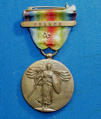 Us Wwi Victory Medal W/ Bar France & Maltese Cross Probably To Usmc