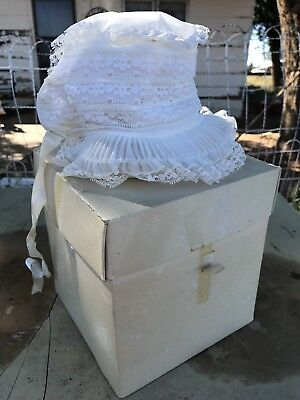 Vintage White Lace Bonnet Hat w/ Original Box - Childs Baby