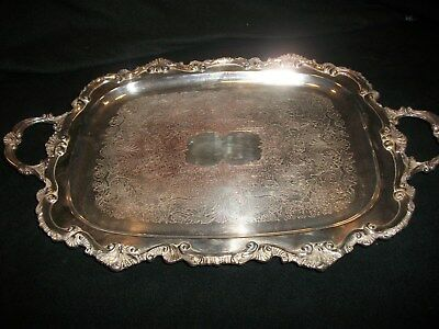 """CHIPPENDALE BY WALLACE X112 FOOTED Silverplated Platter w Handles23"""" Long"""