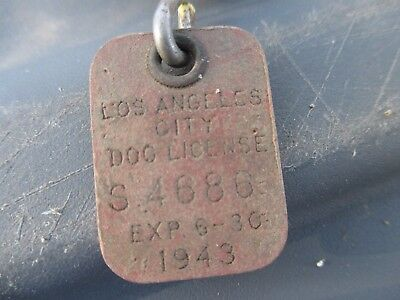 *1943* Los Angeles City Dog License Tag S 4686  EXP 6-30-1943 ~FREE SHIPPING~