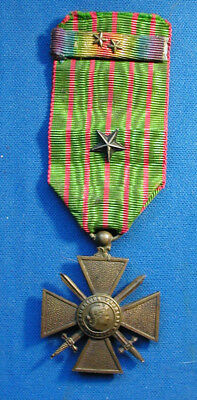 French 1914- 1918 Croix De Guerre Us Award W/ Star & Us Victory Ribbon & 2 Stars
