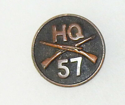 WWI Headquarters 57th Infantry Enlisted Collar Disc