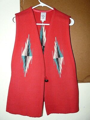 Woman's Ortega's Chimayo Red Hand Woven Native American Vest. Size Small. NICE!