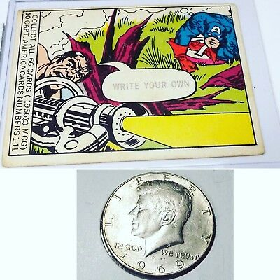 🇺🇸 1966 Marvel Super Heroes Captain America Card 10 & Silver 1969-D 50C Coin!