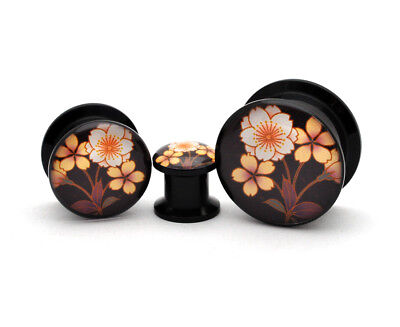 Pair of Black Acrylic Flower Style 4 Picture Plugs gauges 8g to 1 inch