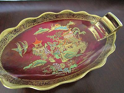 """Carlton Ware """"new Mikado"""" Lustre Rouge Royale Candy Dish"""