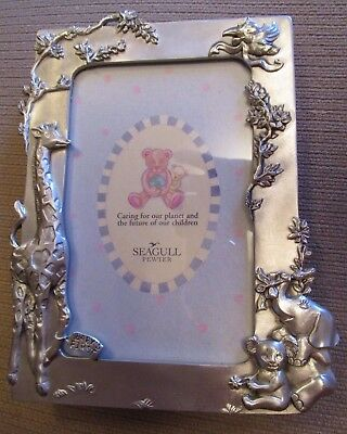 """Vintage Seagull Pewter """"baby's First"""" Picture Frame Stork, Elephant & Giraffe 19"""