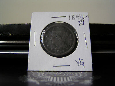 1844/81 Braided Hair Large Cent.  From old collection of coins.