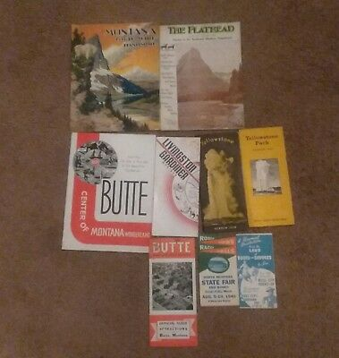 Lot Of 9 Vintage Montana Travel Brochures  ( 1930,s- 1940,s )