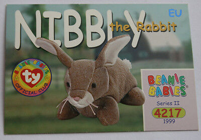 TY Beanie Card II 1999 4217 Nibbly Rabbit